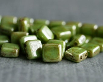 Honeydew Luster Picasso CzechMates Czech Glass Bead 6mm Two Hole Tile : 25 pc