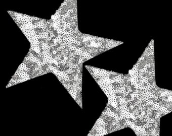 3 PCS Iron On Glue On Silver Sequins STAR Patches Appliques.
