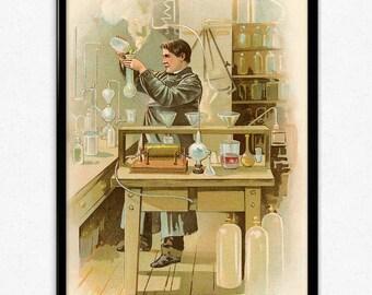 Thomas Edison Laboratory Vintage Print - Edison Poster - Chemistry Art - Office Decor - Office Art - Professor Decor - Professor Art