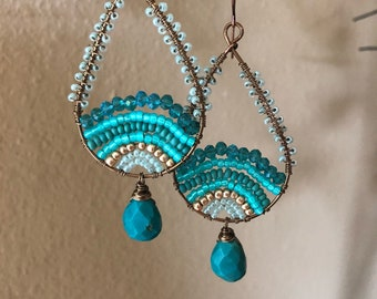 Turquoise and teal beaded earrings