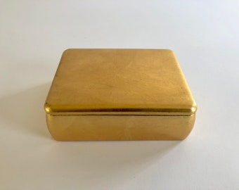 Vintage Rectangular Gold Box with Lid