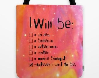 Girls Tote Bag, Girls Book Bag, Strong Girl, Self Esteem, Daughter Tote, Feminist Tote, Dreams Tote, Ambition, Imagination Tote, Career Tote