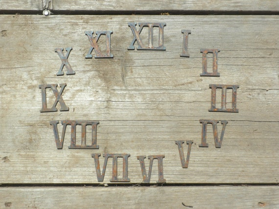 3 Inch Roman Numerals Numbers Clock Set 1 12 Rusty Vintage