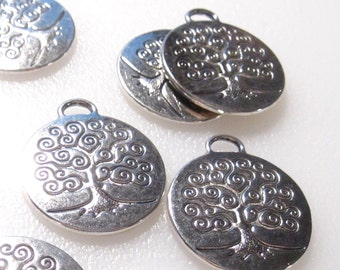 6 Tree Charms Antique Silver Tone Tree of Life Charms C1048 F16