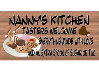 Nanny Wood Sings -Nanny's Kitchen Plaque with Cookes and Candy and Extra Sugar GS305