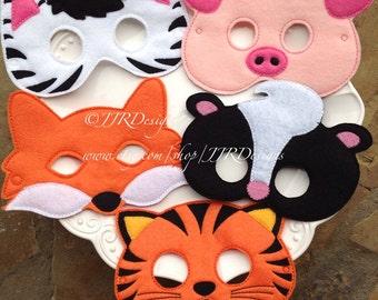 Woodland Masks- Zebra Mask- Pig Mask-Skunk Mask-Fox Mask- Tiger Mask-Dress up Masks- Animal Masks