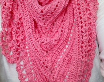Secret Paths Crochet Shawl Scarf Neck Wrap Cowl Cover up Pink 'Boho'