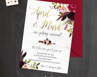 Floral Wedding Invitation Burgundy and Gold Wedding Invitations Bohemian Marsala Wedding Invitation Boho Burgundy Wedding Invites Printable