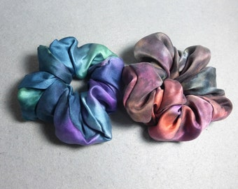 "Silk Scrunchies (set of 2 medium) ""Teal and Brown-Purple"", Hand Painted Silk Scrunchies, Silk Satin Scrunchies"