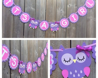 IT'S A GIRL Owl banner, purple owl banner, baby shower decoration, gender reveal, purple shower banner, owl baby shower banner