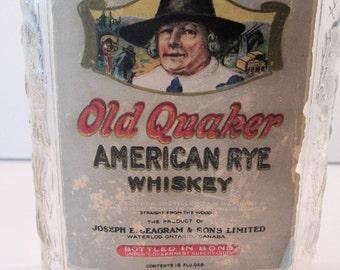 Vintage Old Quaker American Rye Whiskey bottle, 16 oz. embossed, Joseph Seagram & Sons Ltd E68a