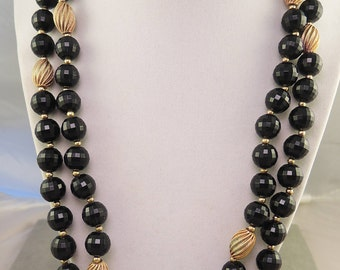 Double Strand Faceted Black Plastic Bead Necklace 1950-60s