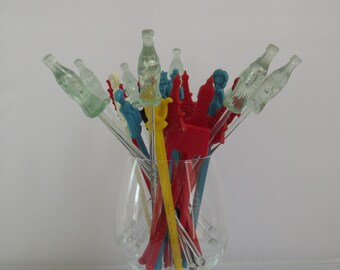 collection of Coca Cola stirrers, Swizzle sticks, mix drinks Coke