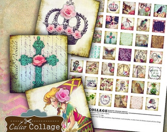 Whimsical, Digital, Collage Sheet, 1x1 Inch Inchies, Printable Downloads, for Pendants, Calico Collage, 1x1 Collage Sheet, Printable Images