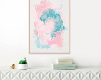 Large Abstract Painting, Pink, Teal and Grey Abstract Art, Beach House Art,Modern Printable Wall Art, Original Wall Art, Pastel Downloadable