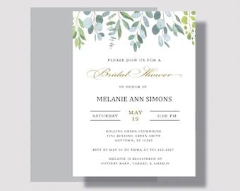GREENERY BRIDAL SHOWER Invitation | Simple Eucalyptus Leaf Bridal Shower Invitation | Minimalist Shabby Chic Bridal Shower Invitation