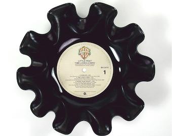 Little Feat Vinyl Record Bowl Vintage LP Album 1977 (Time Loves a Hero) Cream Colored Label