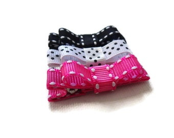 Baby Bow Hair Clips - Pink Black Hair Clips - Hair Clips for Baby - Baby Hair Clip - Baby Hair Clip Set - Pink Hair Clips -Baby Barrettes