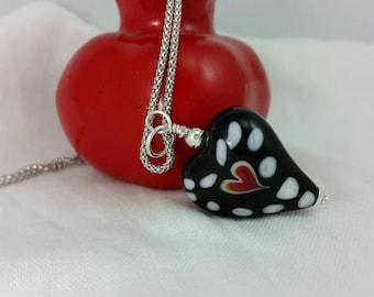 Be My Valentine Handmade Glass Heart Pendant