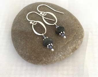 Deep blue jasper and sterling silver earrings