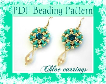 DIY Beading pattern Chloe earrings with Superduo beads / PDF tutorial with detailed instructions, images and diagrams