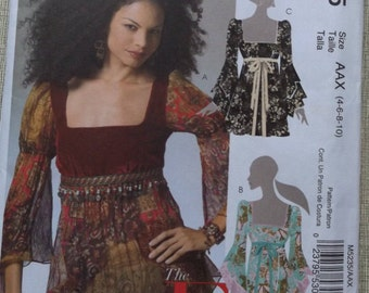 Fitted and Flared Tops with Lined Bodice and Raised Waistline in Sizes 4 to 10 Complete Uncut/FF McCall's Sewing Pattern M5235 Empire Top