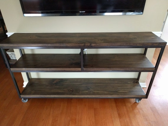 Industrial Console Table with Caster Wheels