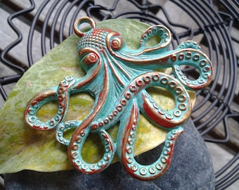 Handpainted Verdigris Patina Octopus Charm (18022) - 57x55mm
