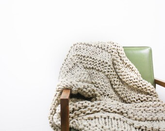 Chunky Wool Throw Blanket Knit Thick Large