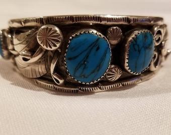 Silver & Turquoise Navajo Bracelet Cuff