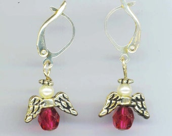 Angel Earrings in Silver/ Gold. Lilac, Amethyst, Red Czech Faceted Crystal. Communion. Leverback - Birthstone Angel by enchantedbeas on Etsy