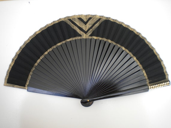 Black Gold Hand Fan Art Deco 24cm