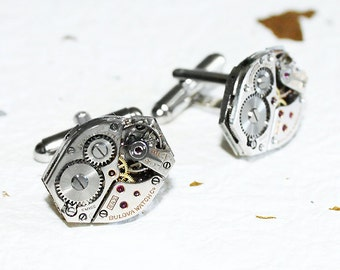 BULOVA Men Steampunk Cufflinks - Matching Vintage Watch Movement Steampunk Cufflinks Watch Cufflinks Wedding Men Wedding Gift for Him