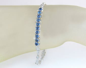 "Vintage 14K White Gold 3.00ct Genuine Diamond Blue Sapphire Pearl 8"" Bracelet"
