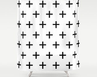 Black and White Swiss Cross Shower Curtain, Bathroom Decor, Modern Bathroom, Fabric Shower Curtain, Standard or Extra Long, Housewarming