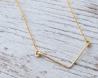 Gold Chevron Bar Necklace, Hammered, Minimalist, Layering, Gift for Her