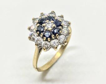 Vintage Gold Ring 9ct gold rosette dress ring UK SIZE O