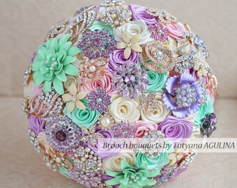 Brooch bouquet. Mint, Pink, Lilac and Ivory  wedding brooch bouquet, Jeweled Bouquet. Made upon request
