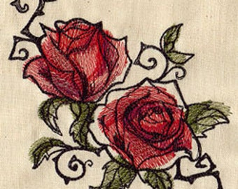 Painted Rose Pair Embroidered Flour Sack Hand/Dish Towel