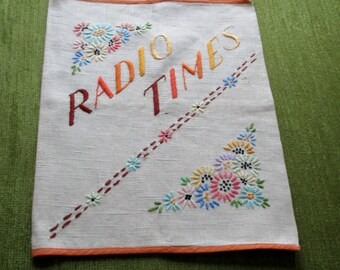 Vintage Radio Times cover - Hand embroidered - Linen