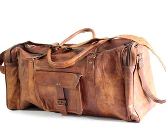 "22"" Travel Bag; gym bag; weekender bag; handmade naturally tanned leather bag;"