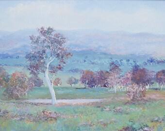 Australian landscape oil painting, FRAMED art, gum trees, country scene, impressionist landscape, Etsy Art, Jan Matson