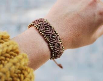 Natural bracelet ,macrame,tribal bracelet ,bohemian bracelet ,ethnic bracelet ,indian bracelet ,gypsy bracelet ,brass bracelet.