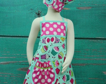 Pre-Teen Party Aprons - Teal & Pink Cupcake - Size Pre-Teen READY TO SHIP