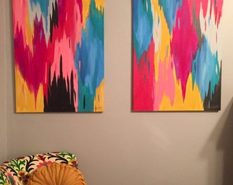 SOLD! Set of 2 original multicolored Abstract Ikat Paintings