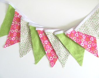 Hearts Fabric Bunting, Girl's Birthday, Pink, Lime Green Nursery Decor / Baby Shower Photo Prop Hearts Fabric Flags Banner