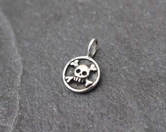 Sterling Silver Skull and Crossbones Charm, Tiny Pendant