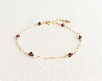 Garnet Bracelet, January Birthstone Bracelet, Bracelets for Women, Mothers Day Gift for Mom,  Delicate Bracelet Gold, Garnet Jewelry GB6B1