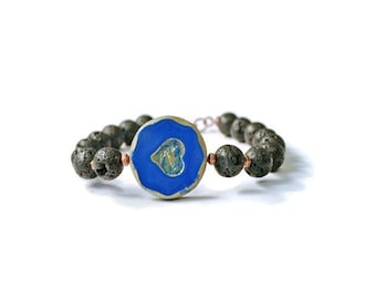 Aromatherapy Diffuser Bracelet, Lava Rocks with Blue Heart Pendant and Antique Copper, Essential Oil Jewelry