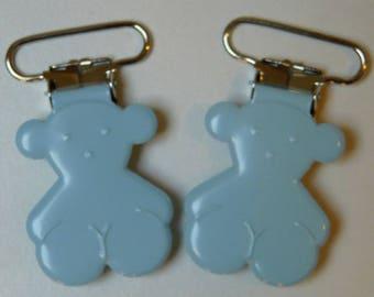 Blue bear pacifier clip